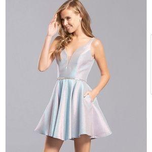Sleeveless Shimmer Fit & Flare DressPlunged v-neck